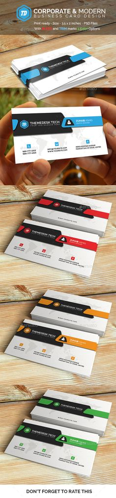 Corporate and Modern  - Business Card - Corporate Business Card Template PSD. Download here: http://graphicriver.net/item/corporate-and-modern-business-card/12638902?s_rank=1750&ref=yinkira