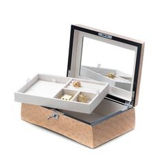Checkout this amazing Salmon Burl Wood Jewelry Box W/ Removable Tray & Slots For Rings featuring 7 layer lacquer finish, Removable valet, Mirror under lid, Soft velour lined, Locking clasp. Jewellery Boxes, Jewellery Storage, Jewelry Box, Jewelery, Rolling Storage, Floating Nightstand, Salmon, Decorative Boxes, Woodworking