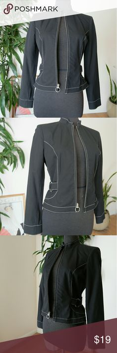 """Black minimal Jacket with ring hardware Sleek black jacket that's very versatile. In excellent condition.   Length:""""22"""" Width (shoulder to shoulder):""""15"""" Waist:""""29"""" Armpit to armpit:""""17"""" Sleeve length:""""24"""" Sleeve/Wrist Circumference:""""9""""  Material : 95% cotton 5% spandex INC International Concepts Jackets & Coats"""