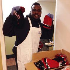 Jonathan Massaquoi gave away #Falcons hats to those at the Crossroads Community Ministries. #RiseUp