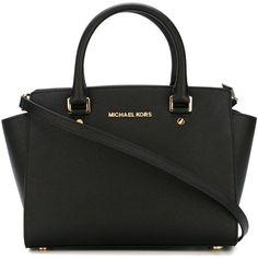 Michael Michael Kors Selma Bag ($310) ❤ liked on Polyvore featuring bags, handbags, tote bags, black, michael michael kors, tote handbags, saffiano leather tote, handbags totes and tote bag purse