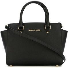 Michael Michael Kors Selma Bag (1,395 MYR) ❤ liked on Polyvore featuring bags, handbags, tote bags, black, tote bag purse, tote purses, handbags totes, saffiano leather handbags and tote handbags
