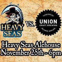 Join us as @HeavySeasBeer and @UnionBrewing goes head to head next Wednesday. On one of the biggest drinking nights of the year taste the different brews from both companies and let us know which beer you prefer.  Heres the list of beers going head to head!  The featured beers are: 1. Double Duckpin vs. Double Cannon 2. Snowpants vs Peg Leg 3. Anthem vs Gold 4. Duckpin vs. Crossbones 5. Foxy vs. Loose Canon 6. Balt vs. Stoop Sitter 7. Double Duckpin Cask vs Double Cannon by heavyseasalehse
