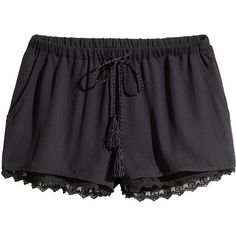 H&M Shorts with a lace trim ($23) ❤ liked on Polyvore featuring shorts, bottoms, pants, black, black shorts, black short shorts, woven shorts, short shorts and hot pants