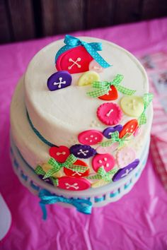 Cake With Buttons For A Lalaloopsy Party