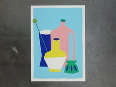 Colorful screenprint of a stil life including a pink bottle