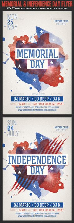 Memorial  Independence Day Flyer Template  Flyer Template And