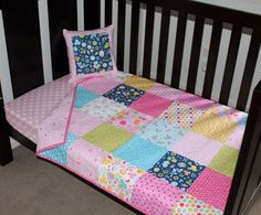 Wildflower Meadow Patchwork Cot Quilt by BubbleSqueakStitches