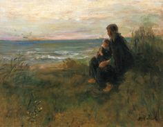 Jozef Israëls (Dutch Realist painter, 1824-1911) Anxiously Waiting