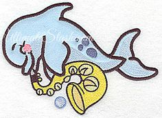 Dolphin applique with horn