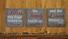 Bless The Food Wood Sign Wallhanging Kitchen Sign Dining Room Sign Gray And Red Wall Decor Distressed Wood Farmhouse Wall Art Handpainted