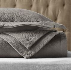 RH's Vintage-Washed Diamond Matelassé Coverlet:FREE SHIPPINGOur diamond matelassé bedding develops its matte finish and sumptuously soft feel during a garment washing process that results in a casual, relaxed appeal. A family-run company in Portugal weaves and tailors the fabric with meticulous care.