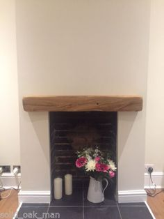 Solid-Oak-Beam-Floating-Shelf-Mantle-Piece-Fire-Place-Surround-various-sizes. Very pretty but illegal to install like this in the UK, due to the probability of wood so near a fire doing what wood does in fires!