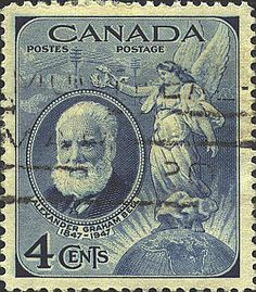 1947 Alexander Graham Bell 4¢ deep blue issued to commemorate the100th anniversary of his birth.  One of only two Canadian stamps issued that year.