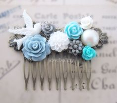 Wedding Hair Comb Turquoise Gray Dusty Blue Grey White Spring Fall Winter Bridesmaids Gift Bridal Hair Slide Flower Floral Headpiece