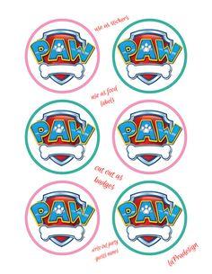 Paw Patrol Birthday Party Badge 3 inch circles  2 PDF files