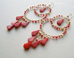 Coral Chandelier Earrings Red Coral Hoop by BellaAnelaJewelry, $110.00