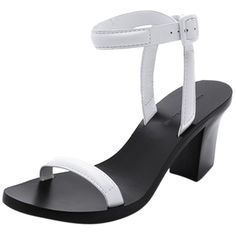 Pre-owned Alexander Wang Ilva Ankle Strap Minimalist And White Heels... ($240) ❤ liked on Polyvore featuring shoes, sandals, black, black sandals, black ankle strap sandals, chunky heel sandals, strap sandals and ankle strap shoes
