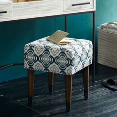 For under console: Upholstered Tufted Stool | west elm