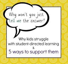 strategies for helping kids be successful with project based learning and student direct learning