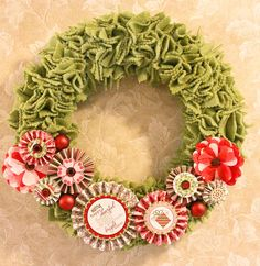 Fleece Christmas Wreath - small fleece squares cut with pinking shears and pinned into foam wreath form