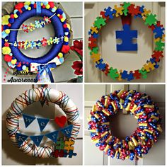 Ten Easy Ways You Can Light it Up Blue for Autism Tap the link to check out fidgets and sensory toys! Autism Awareness Crafts, Autism Crafts, World Autism Awareness Day, Fun Crafts For Kids, Crafts To Sell, Diy And Crafts, Autism Quotes, Wreath Crafts, School