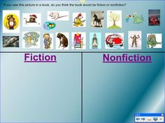 Fiction versus Nonfiction: Use this lesson to launch a discussion about the difference between fiction and nonfiction. Also, teach students that fiction books have call numbers that start with the letter 'E,' while nonfiction books have call numbers that start with numerical digits.