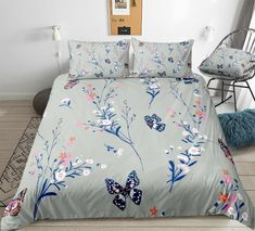 Retro Floral Butterflies Bedding Set Butterfly Bedding Set, Bed In A Bag, Retro Floral, Cotton Duvet, Clean Design, Beautiful Patterns, Duvet Cover Sets, Bedding Sets, Butterflies