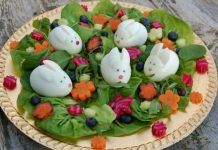 Eats Amazing - Foodimal competition entry - Leafy with a Chance of Rebbits food art Easter Food Idea: Bunny Rabbit Easter Salad Easter Bunny Fruit, Easter Salad, Easter Food, Egg Salad, Kiwi Recipes, Easter Recipes, Easter Ideas, Animal Shaped Foods, Cute Food