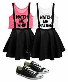 """""""BFF whip and nae nae I want those shirts!"""" Too bad my BFF is my husband. I'm pretty sure he prefers Nae Nae, bug that skirt might be too short 😜 Twin Outfits, Teen Fashion Outfits, Matching Outfits, Outfits For Teens, Summer Outfits, Girl Outfits, Womens Fashion, Best Friend Outfits, Best Friend Shirts"""