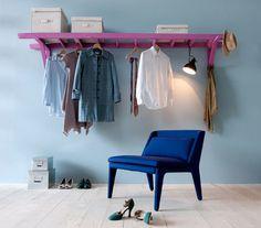 echelle rack vetements DIY : détourner une échelle pour en faire un portant à vêtements