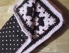 Reversible crochet fabric baby blanket. put some fleece on the other side, imagine how snuggly that would be in the winter!