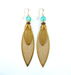 Earrings, Pendientes, Golden Leaves, by Mimi Scholer