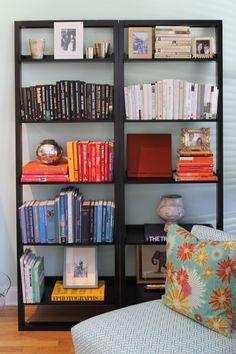 Color Coordinated Bookshelves // Ann Ueno // www.houseandhost.com/blog