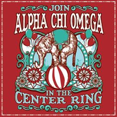 Geneologie | Greek Tee Shirts | Greek Tanks | Custom Apparel Design | Custom Greek Apparel | Sorority Tee Shirts | Sorority Tanks | Sorority Shirt Designs  | Sorority Shirt Ideas | Greek Life | Hand Drawn | Sorority | Sisterhood | Bid Day | Recruitment | Circus | Fair | Carnival | Elephant | A Chi O | Alpha Chi Omega