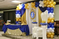Infinite Event Decor 's Baby Shower / Royal Baby Shower - Photo Gallery at Catch My Party Baby Shower Balloons, Baby Shower Games, Baby Boy Shower, Baby Shower Photos, Baby Shower Gender Reveal, Shower Party, Baby Shower Parties, Party Party, Prince Birthday Party