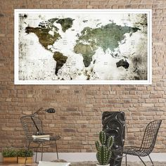76859 - World Map Canvas PRINT, World Map Canvas Art, Large World Map PUSH Pin Canvas Print, World Map, World Map Art Print, World Map Wall Art,