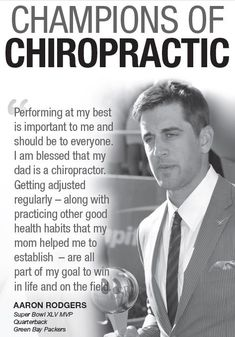 It's that time of year again--football season! At ChiroElite Chiropractic , we are big fans of our Green Bay Packers. Aaron Rodgers is also a huge fan of chiropractic. His father is actually a. Benefits Of Chiropractic Care, Chiropractic Quotes, Chiropractic Therapy, Chiropractic Office, Chiropractic Treatment, Family Chiropractic, Chiropractic Wellness, Aaron Rodgers, Wisconsin