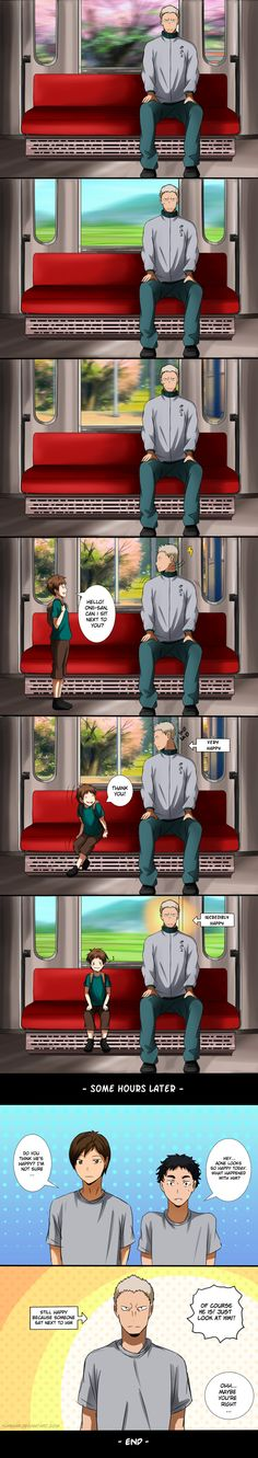 Aone's current concern is when he's riding the train nobody wants to sit next to him. And it's just… soooo cuteeee~ He deserves more love! Haikyuu Kageyama, Haikyuu Funny, Haikyuu Manga, Haikyuu Fanart, Kenma, Hinata, Aone Haikyuu, Anime Ai, Anime Guys