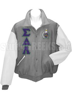 Light gray Sigma Delta Lambda Varsity Jacket with white sleeves, the Greek letters down the right, and the crest on the left breast.