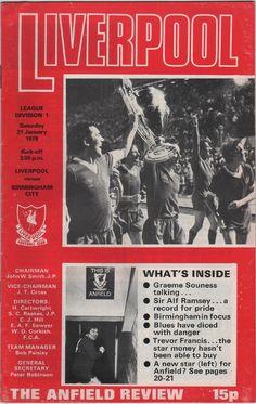 Vintage Football Programme - Liverpool v Birmingham City, season, by DakotabooVintage, Arsenal Fc, Football Program, College Football, Football Soccer, Hockey, Graeme Souness, You'll Never Walk Alone, Fernando Torres, Juan Mata