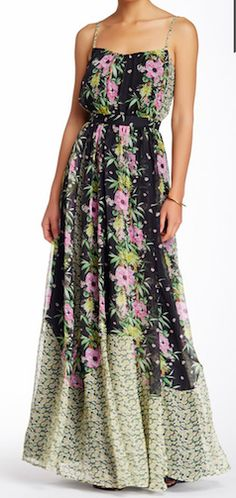 Elegant floral green maxi-dress