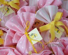 Πουγκι ροζ πουα ρίγες λεμόνι
