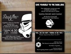 Beautiful Star Wars Darkside Wedding Invitation Digital Files