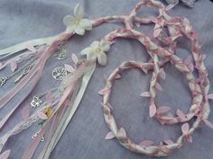 Handfasting cord pink  lace and ribbon  by dancingwithbadgers