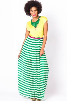 yellow + green and white striped maxi dress