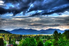 Lake Placid HDR photo just before sunset, taken near the Crowne Plaza Resort and Golf Club in May 2011.