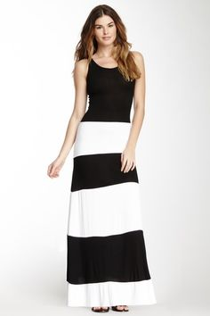Striped Contrast Maxi Dress by Go Couture on @HauteLook