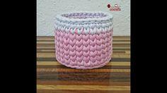 How to crochet round basket tshirt yarn | طريقة كروشيه باسكت دائري بخيط ...