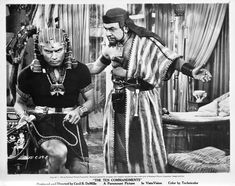 """Edward G Robinson as Dathan and Yul Brenner as Ramses in Cecil B DeMille's """"The Ten Commandments"""" (Paramount, 1956)."""